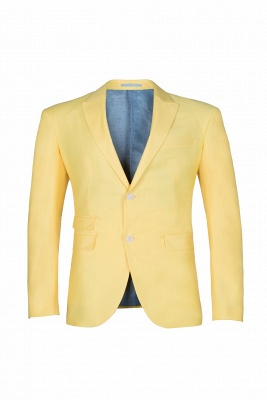 Noched Lapel Two Button Single Breasted Daffodil Chambelanes Tuxedos Slim Fit_1