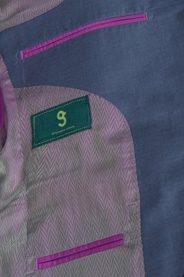 Chaqueta de solapa traje de un solo pecho informal   con dos botones ventilación posterior gris claro_6
