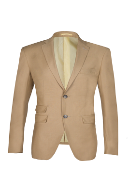High Quality Two Button Nude Color Back Vent Peak Lapel Chambelanes_1