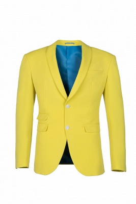 High Quality Fashion Two Button Daffodil Chambelanes Tuxedos Back Vent_1