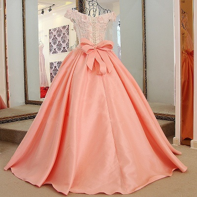 Flowers Sweetheart Sleeveless Bow Quinceanera Dress_2