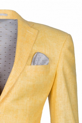 Peak Lapel Two Button Daffodil High Quality Chambelanes Tuxedos Casual Suit_5