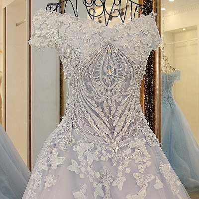 Chic Tulle Off-the-Shoulder Appliques Quinceanera Dress_4