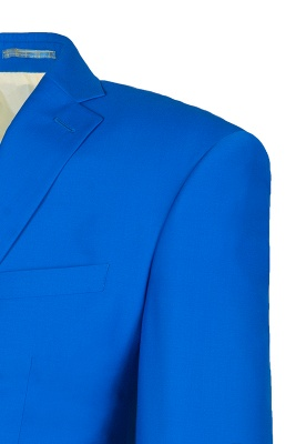Océano azul traje casual | solapa pico soltero pecho novio_4