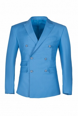 Ocean Blue Casual Suit Customize Chambelanes  Peak Lapel Double Breasted_1