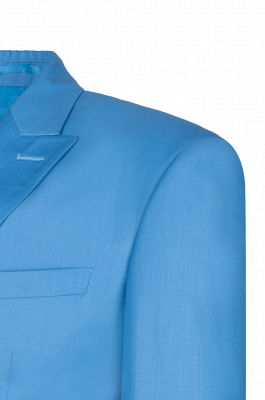 Ocean Blue Casual Suit Customize Chambelanes  Peak Lapel Double Breasted_4