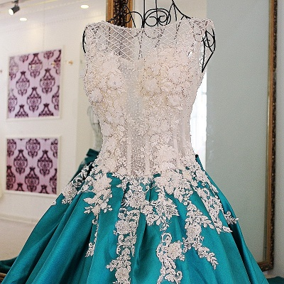Exquisite Jewel Appliques Beading Quinceanera Dress_5