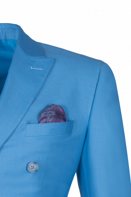 Traje Casual Azul Marino Personalizar | Padrinos de boda Pico solapa doble pecho_3
