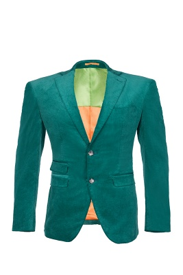 Customize Hot Recommend Single Breasted Peak Lapel Turquoise Chambelanes_1