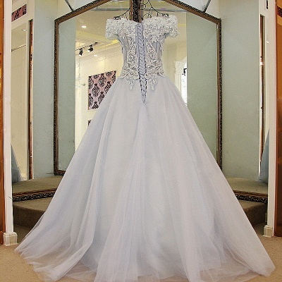 Chic Tulle Off-the-Shoulder Appliques Quinceanera Dress_2
