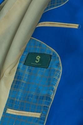 Océano azul traje casual | solapa pico soltero pecho novio_6