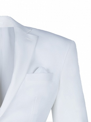 High Quality White Back Vent Two Button Casual Suit Chambelanes  Peak Lapel_3