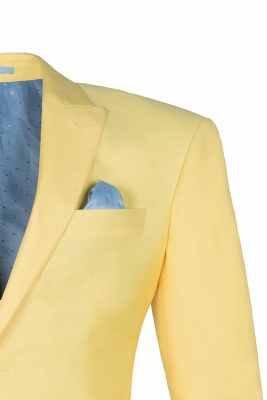 Noched Lapel Two Button Single Breasted Daffodil Chambelanes Tuxedos Slim Fit_3