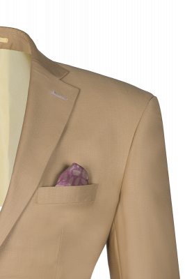 High Quality Two Button Nude Color Back Vent Peak Lapel Chambelanes_2