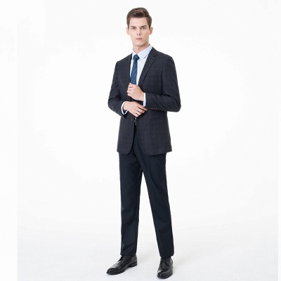 Slim Fit Peak Lapel Two-piece Suit Lattice Casual Suits | Chambelanes tuxedos for my quince_2