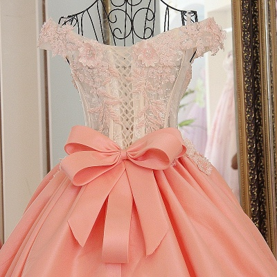 Flowers Sweetheart Sleeveless Bow Quinceanera Dress_4