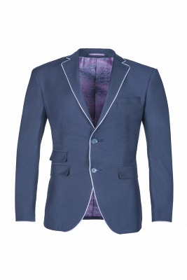 Popular Stylish Design Ink Blue Peak Lapel Two Button Chambelanes_1