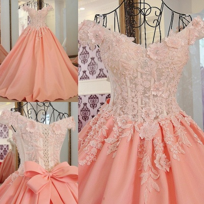 Flowers Sweetheart Sleeveless Bow Quinceanera Dress_1