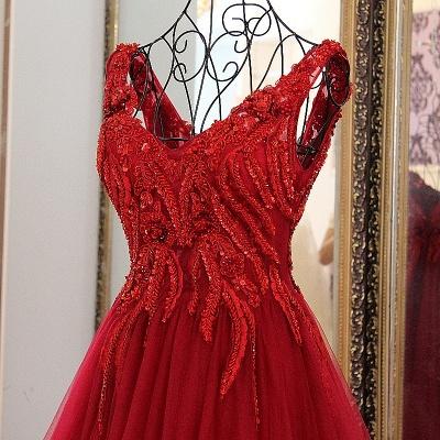 Elegantes vestido largo de quincea_era | correas cari_o abalorios en cuello redondo_2