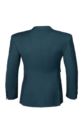 Dark Green Stylish Design Back Vent Peak Lapel Slim Fit Chambelanes Tuxedos_5