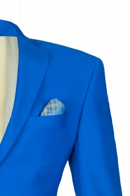 Ocean Blue Casual Suit Peak Lapel Single Breasted Chambelanes_3