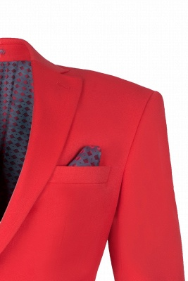Red Peak Lapel Single Breasted High Quality quinceanera Prom Suits_3