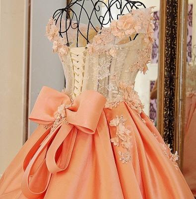 Elegante vestido de quincea_era con appliques | sin mangas con flores de novia_4