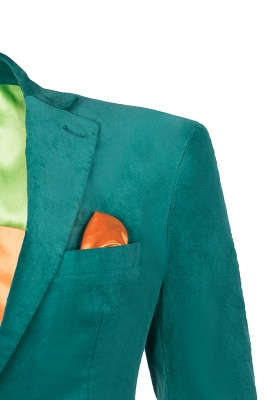 Customize Hot Recommend Single Breasted Peak Lapel Turquoise Chambelanes_3