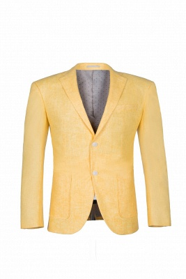 Peak Lapel Two Button Daffodil High Quality Chambelanes Tuxedos Casual Suit_4
