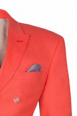 High Quality Latest Design Watermelon Peak Lapel Chambelanes Tuxedos Back Vent_3