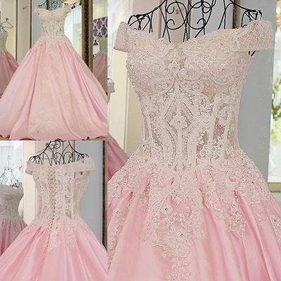 Off-the-Shoulder Sweetheart Appliques Quinceanera Dress_1