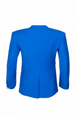 Océano azul traje casual | solapa pico soltero pecho novio_5