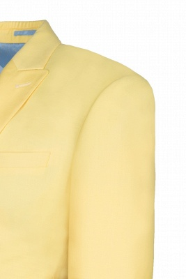 Noched Lapel Two Button Single Breasted Daffodil Chambelanes Tuxedos Slim Fit_4