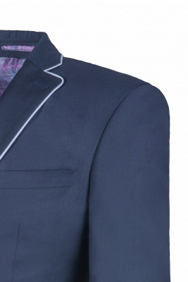 Popular Stylish Design Ink Blue Peak Lapel Two Button Chambelanes_4