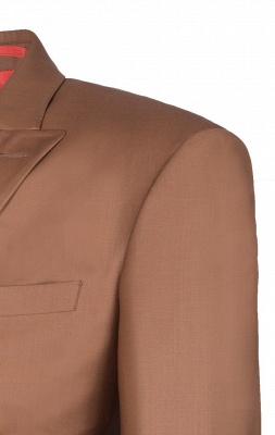 Brown Peak Lapel Customize Double Breasted Chambelanes  Popular Chambelanes Tuxedos_4