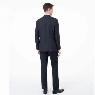 Ajustado Peak solapa traje de dos piezas | celosía trajes casuales_3