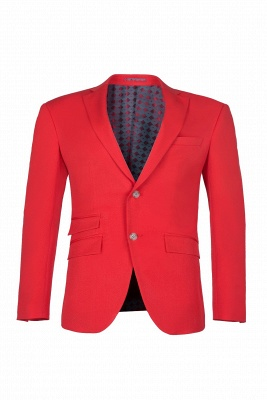 Red Peak Lapel Single Breasted High Quality quinceanera Prom Suits_1