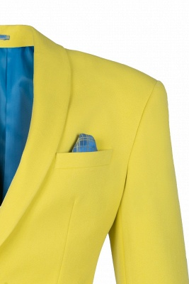 High Quality Fashion Two Button Daffodil Chambelanes Tuxedos Back Vent_3