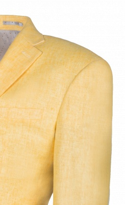Peak Lapel Two Button Daffodil High Quality Chambelanes Tuxedos Casual Suit_3