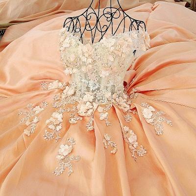 Elegante vestido de quincea_era con appliques | sin mangas con flores de novia_1