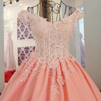 Flowers Sweetheart Sleeveless Bow Quinceanera Dress_3