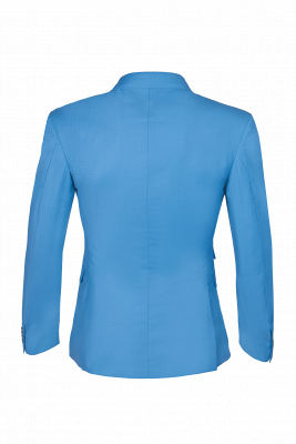 Ocean Blue Casual Suit Customize Chambelanes  Peak Lapel Double Breasted_6