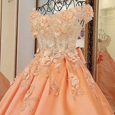 Elegante vestido de quincea_era con appliques | sin mangas con flores de novia_3