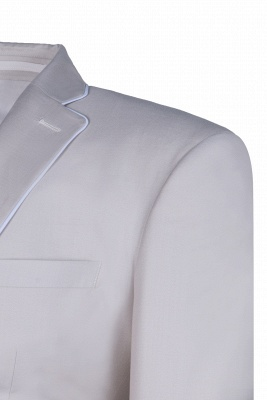 Fashion Peak Lapel Silver Single Breasted Chambelanes Tuxedos For Men Back Vent_4