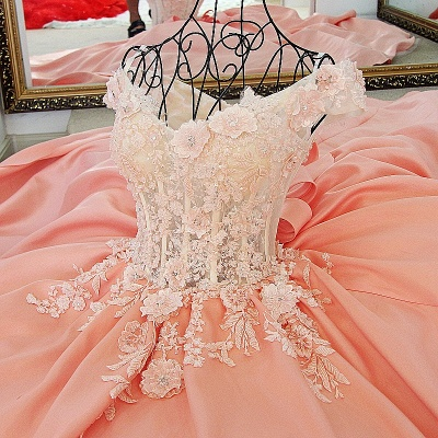Flowers Sweetheart Sleeveless Bow Quinceanera Dress_5