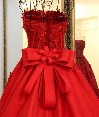 Illusion Strapless Ribbons Pearls Quinceanera Dress_3