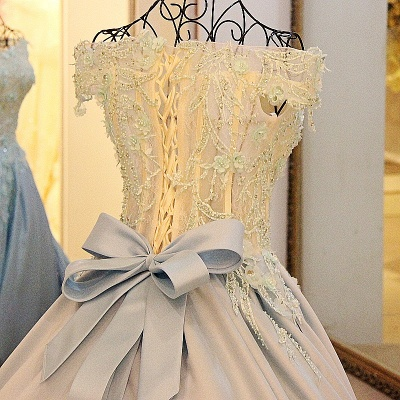 Ball Gown Appliques Beading Flowers Ribbon Bow Quinceanera Dresses_4