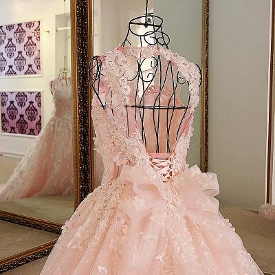 Lace Appliques Floor Length Pink Quinceanera Dresses_3