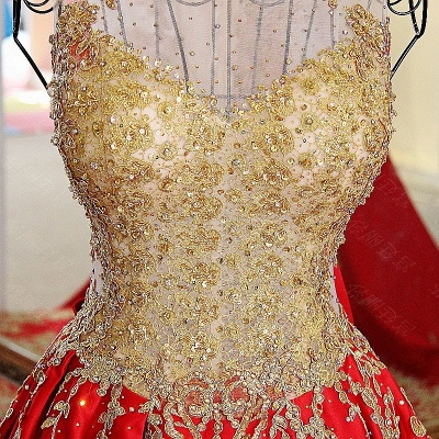 Golden Appliques Red A-line Brush Train Quinceanera Dresses_5