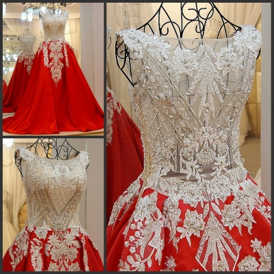 Luxurious Beading Golden Appliques Sleeveless Red Quinceanera Dresses_5